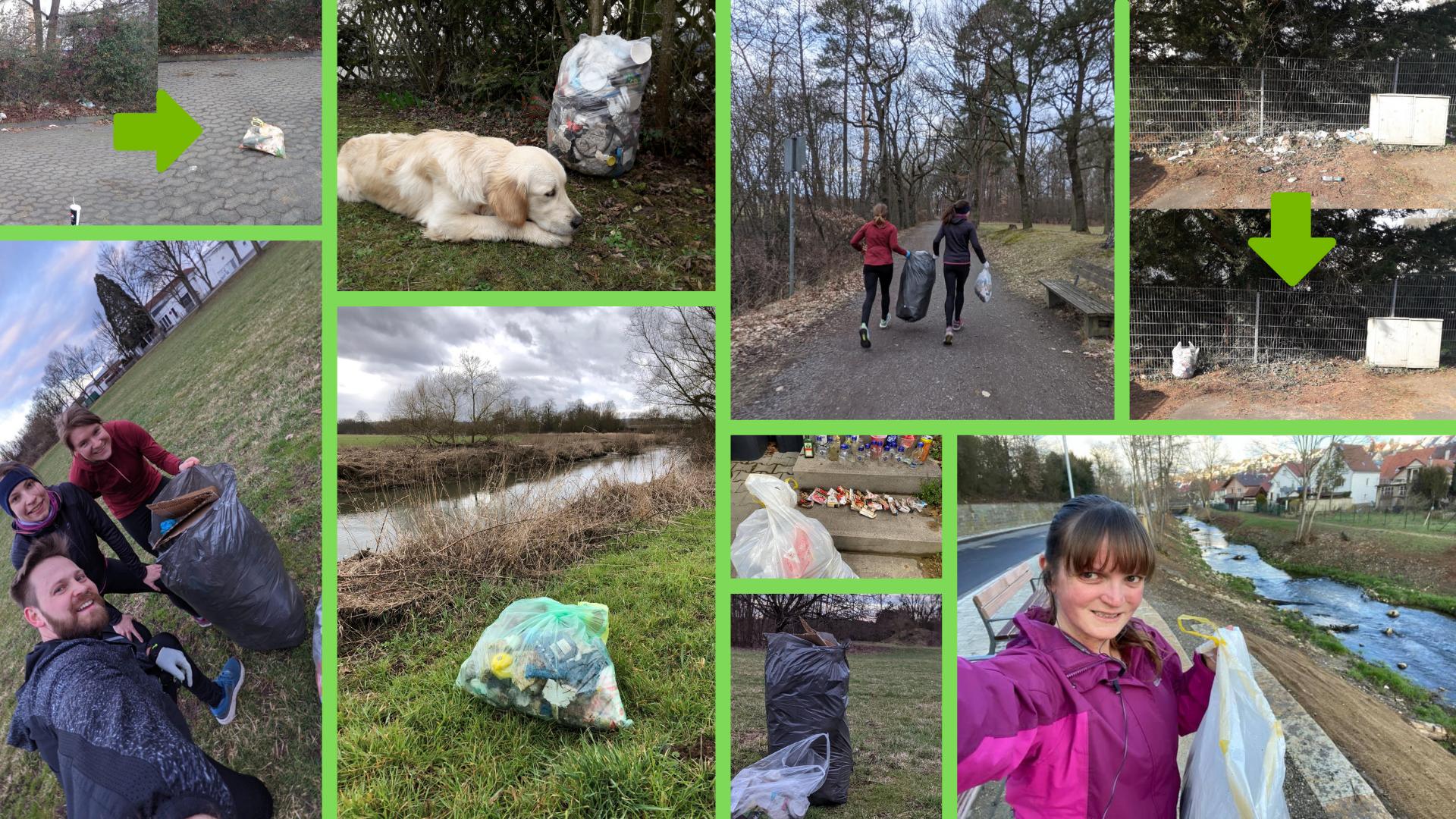 Collage mit Bildern vom Müllsammeln