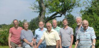 Der neu gewählte Vorstand des OGV (v.l.n.r.) Ralf Gabrich, Petra Bröckmann, Gerhardt Bernhard, Klaus Marschner, Stefan Muartin Rodiger, Oskar Krothnzert, MartinM